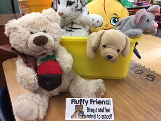 Stuffed animal as fluffy friends.